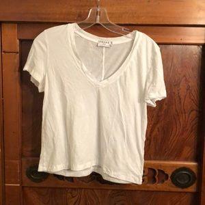 "Frame shirt white s/s v neck top sz s 20"" length"